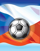 Soccer ball and Czech flag