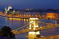Chain bridge with Orszaghaz in background