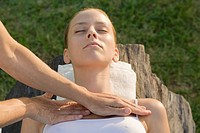 Woman receiving chest massage