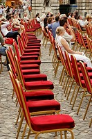 Empty Row of Chairs, Open-air Rehearsal, Festival at Buda Castle, Budapest, Hungary, Europe