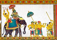 Murals of Thiruvilayadal Puranam (Lord Shivas Game, the collection of 64 stories, composed by Paranjyoti Munivar) in Sri Meenakshi Temple walls near G...