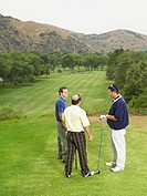 Three golfers talking on green