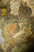 Mural on the wall of a cave, Ajanta, Maharashtra, India