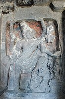 Statue of lord Shiva carved in a cave, Ellora, Aurangabad, Maharashtra, India