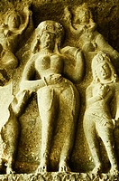 Statues carved on the wall in a cave, Ellora, Aurangabad, Maharashtra, India