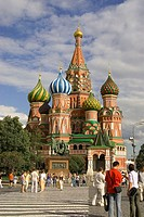 Russia. Moscow. Red Square. St. Basil's Cathedral. Tourists