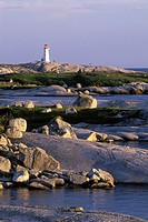 Peggy´s Cove Lighthouse and granite shoreline, Nova Scotia, Canada