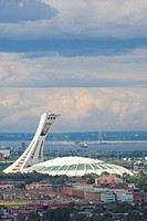 Olympic Stadium and neighborhoods of east Montreal, Quebec, Canada