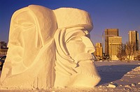 Snow sculpture and the Festival du Voyager, Winnipeg, Manitoba, Canada