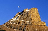 Moon rising over Roche Miette, Jasper National Park, Alberta, Canada
