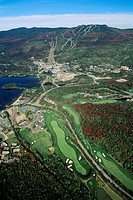 Aerial of Mount Tremblant Village, Quebec, Canada