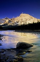 Mount Fryatt and the Athabasca River at sunrise in the Canadian Rockies, Jasper National Park, Alberta, Canada