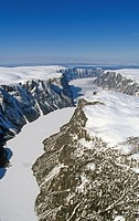 Aerial of Western Brook Pond in winter, Gros Morne National Park, Newfoundland and Labrador, Canada