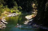 Swimmers and Tubers enjoying the warm waters of the Cowichan River, near Skutz Falls, Cowichan Valley, Vancouver Island, British Columbia, Canada