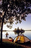 Canoeist , Otter Falls, Whiteshell Provincial Park, Manitoba, Canada