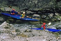 Kayakers, Capilano River, North Vancouver, British Columbia, Canada