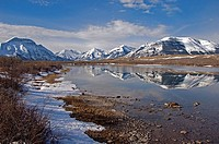 Reflection of Bell View and Vimy Mountain, Waterton River, Waterton Lakes National Park, southwest alberta, Canada