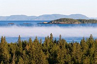 Mist rising from Lake Superior on a cool morning as seen from the boreal forests of Pukaskwa National Park  Heron Bay, Ontario, Canada