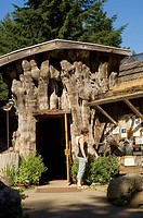 Unique burl entrance of Hornby Island Community Center, Gulf Islands, British Columbia, Canada