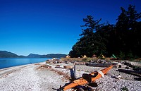 kayakers camping at shell beach, Portland Island, Gulf Islands National Park Reserve, British Columbia, Canada