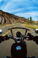 motorcycle rider, point of view shot, blurred road, British Columbia, Canada