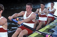 Rowers on lake  Elk Lake, Victoria , Canada Junior Men´s fours team, Vancouver Island, British Columbia, Canada