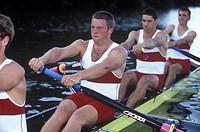 Rowers on lake  Elk Lake, Victoria , Canada Junior Men´s fours team, Vancouver Island, British Columbia, Canada