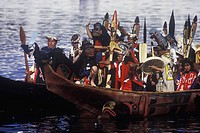 First nations of British Columbia paddlers in traditional cedar dugout canoes, Vancouver, British Columbia, Canada