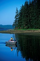 Rupert Inlet, with recreatioanl boater, Vancouver Island, British Columbia, Canada