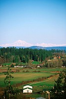Saanich Peninsula farmland and Mt Baker, Victoria, Vancouver Island, British Columbia, Canada