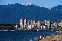 View to English Bay along Kitsilano Beach, Vancouver, British Columbia, Canada