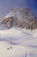 Backcountry skiers ski-touring in Bugaboo Glacier Provincial Park, near Columbia Basin, British Columbia, Canada