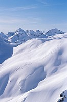 Skiers in Whistler back country, Coast Mountains, British Columbia, Canada