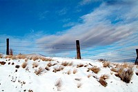 Fence in Winter with Snow and Sky, Kamloops BC