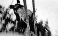 Skier in midst Jump, B/W