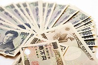 Japanese currency: one thousand yen banknotes, close-up