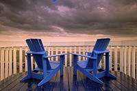 Deck Chairs and Beach, Gaspe Peninsula Quebec