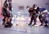 Playing Roller Hockey