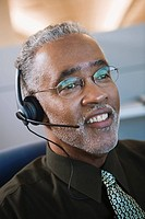 African businessman wearing headset