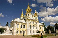Russia. Petrodvorets. Peterhof Palace. Peter the Great's summer palace. Facade of the Grand Palace