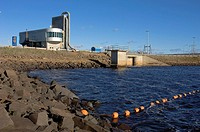 Annapolis Tidal Power Project that generates hydroelectric power from the Bay of Fundy tides, Annapolis Royal, Nova Scotia