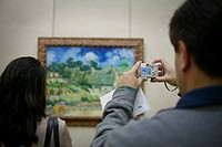 Tourist Photographing a Painting, Musee d´Orsay, Paris, France