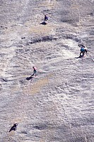 Rock Climbers on Steep Rock Face