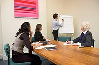 Young man about to start a presentation using a flip chart at a small business meeting.