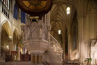 Pulpit in St. Patrick´s cathedral, midtown Manhattan, NYC, USA