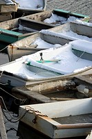 Rowboats Covered With Snow