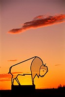 Steel Bison Sculpture at Sunset, Balgonie, Saskatchewan