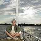 Portrait of mature man on sailboat