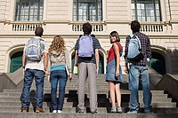High school students standing on stairs
