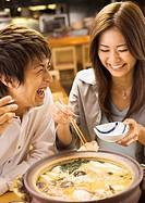 Couple Eating Japanese Style Chowder